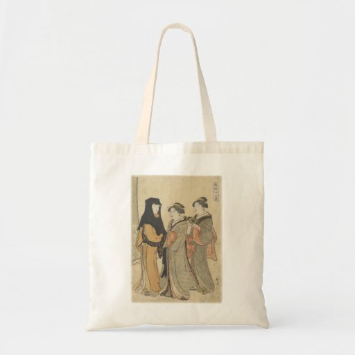 Three asian women one with a bonsai plant tote bag