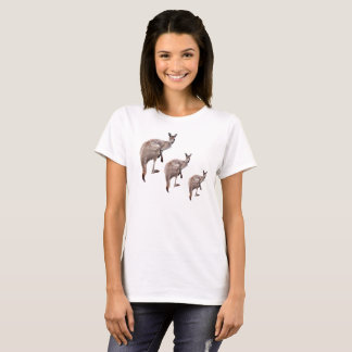 Three Aussie Kangaroos, Ladies White T-shirt