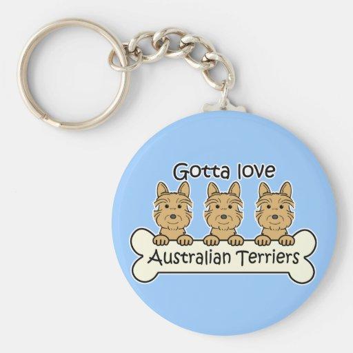 Three Australian Terriers Key Chains