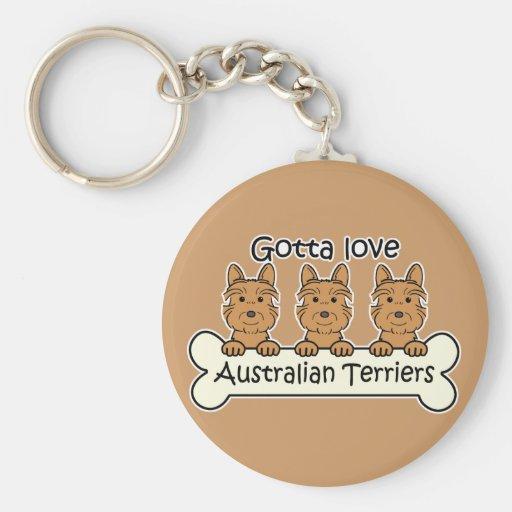 Three Australian Terriers Keychains