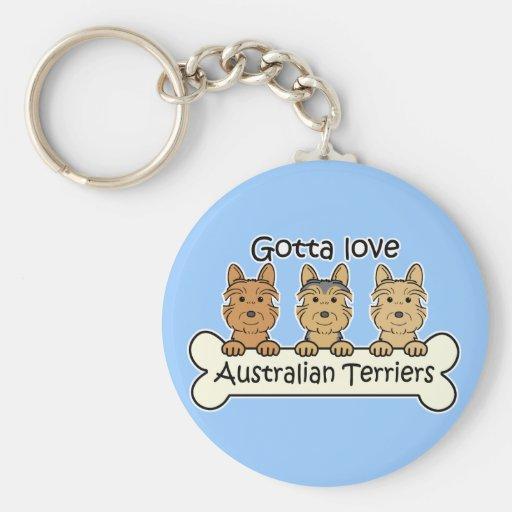 Three Australian Terriers Keychain