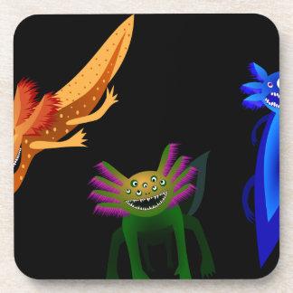 Three Axolotl monsters Beverage Coasters