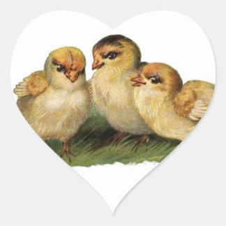 three baby chicks heart sticker