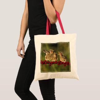 Three Baby Lanius Schach Birds Tote Bag