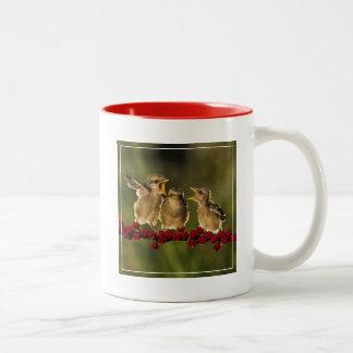 Three Baby Lanius Schach Birds Two-Tone Coffee Mug