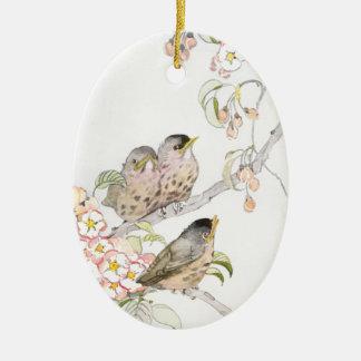 Three Baby Robins in a Cherry Tree Ceramic Ornament