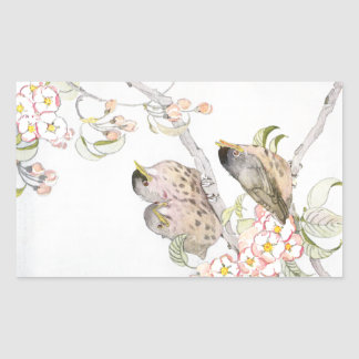 Three Baby Robins in a Cherry Tree Rectangle Sticker