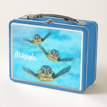 Beach Themed Three Baby Sea Turtles Swimming Metal Lunch Box