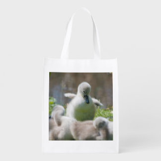Three Baby Swan Cygnet ducklings cuddling together Reusable Grocery Bag