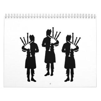 Three bagpipe player calendar
