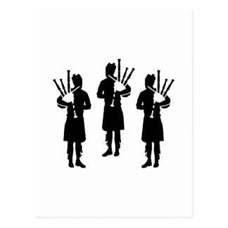 Three bagpipe player postcard