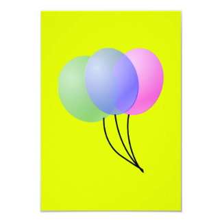 three balloons 3.5x5 paper invitation card