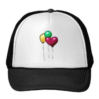 Three Balloons Red Yellow Green Heart Hats