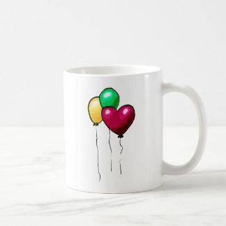 Three Balloons Red Yellow Green Heart Mugs