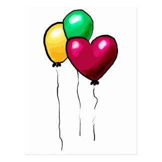 Three Balloons Red Yellow Green Heart Postcard