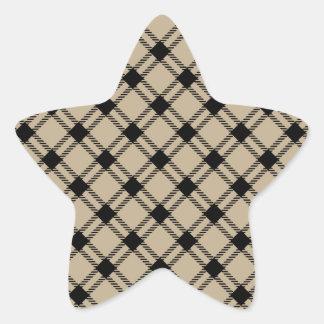 Three Bands Large Diamond - Black on Khaki Star Stickers
