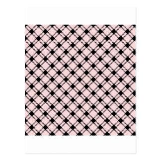 Three Bands Large Diamond - Black on Pale Pink Postcard