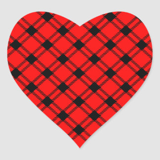 Three Bands Large Diamond - Black on Red Heart Sticker