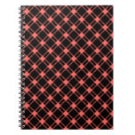 Three Bands Large Diamond - Pastel Red on Black Notebooks