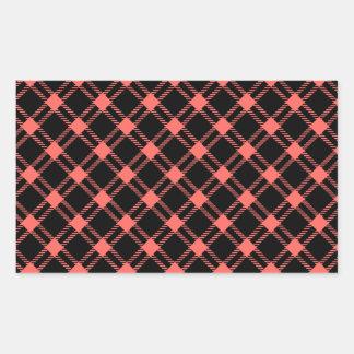 Three Bands Large Diamond - Pastel Red on Black Rectangular Sticker