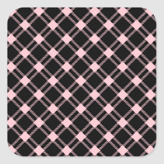Three Bands Large Diamond - Pink on Black Square Stickers