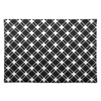 Three Bands Large Diamond - White on Black Cloth Placemat