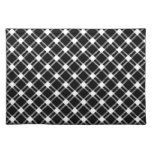 Three Bands Large Diamond - White on Black Placemats