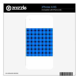Three Bands Large Square - Black on Azure iPhone 4S Decals