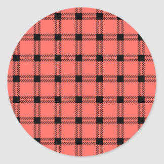 Three Bands Large Square - Black on Pastel Red Classic Round Sticker