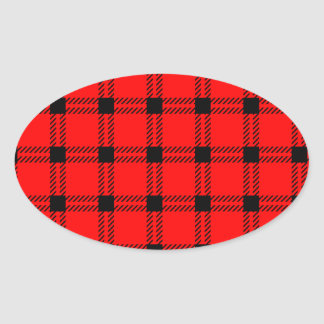 Three Bands Large Square - Black on Red Oval Sticker