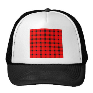 Three Bands Large Square - Black on Red Trucker Hat