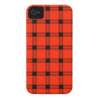 Three Bands Large Square - Black on Scarlet iPhone 4 Covers