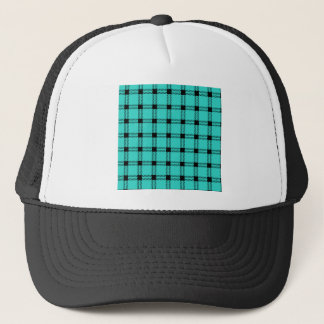 Three Bands Large Square - Black on Turquoise Trucker Hat