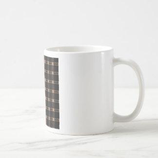 Three Bands Large Square - Cafe au Lait on Black Coffee Mug