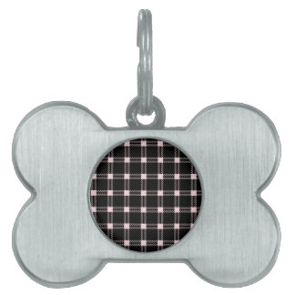 Three Bands Large Square - Pale Pink on Black Pet Name Tag