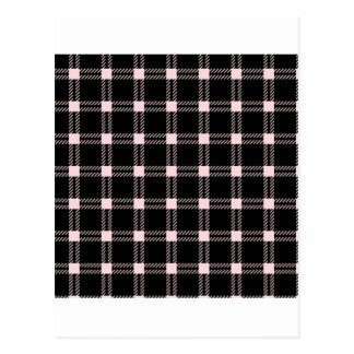 Three Bands Large Square - Pale Pink on Black Postcard