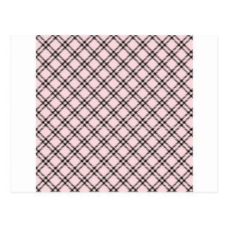 Three Bands Small Diamond - Black on Pale Pink Postcard