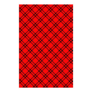 Three Bands Small Diamond - Black on Red Stationery