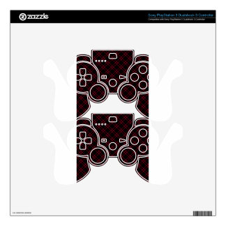 Three Bands Small Diamond - Burgundy on Black Decal For PS3 Controller