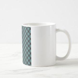 Three Bands Small Diamond - Electric Blue on Black Coffee Mug