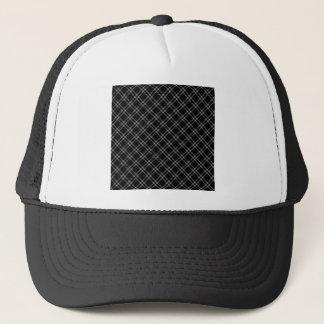 Three Bands Small Diamond - Gray on Black Trucker Hat
