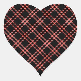 Three Bands Small Diamond - Pastel Red on Black Heart Sticker