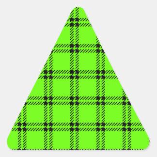 Three Bands Small Square - Black on Bright Green Triangle Sticker