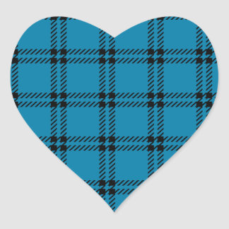 Three Bands Small Square - Black on Cerulean Heart Sticker