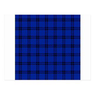 Three Bands Small Square - Black on Imperial Blue Postcard