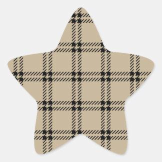 Three Bands Small Square - Black on Khaki Star Stickers