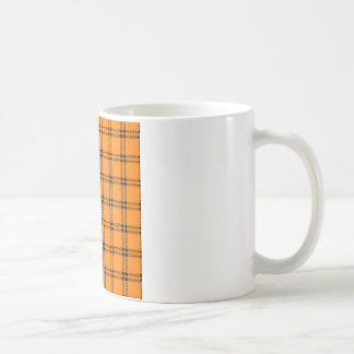 Three Bands Small Square - Black on Orange Coffee Mug