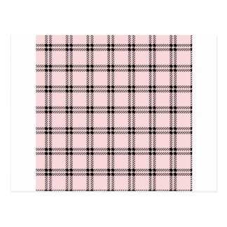 Three Bands Small Square - Black on Pale Pink Postcard
