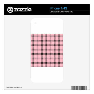 Three Bands Small Square - Black on Pink Decal For The iPhone 4