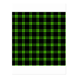 Three Bands Small Square - Bright Green on Black Postcard